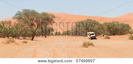 Road In The Sossusvlei, The Famous Red Dunes Of Namib Desert