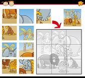 Cartoon Illustration of Education Jigsaw Puzzle Game for Preschool Children with Funny Safari Wild Animals Group poster
