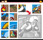 Cartoon Illustration of Education Jigsaw Puzzle Game for Preschool Children with Funny Exotic Birds poster