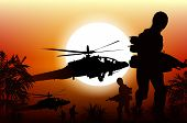 Soldiers in Action. Marine Soldiers and Helicopters. Sunset Silhouette Background Illustration. poster