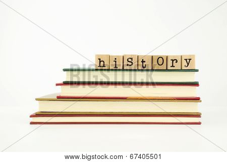 History Word On Wood Stamps And Books