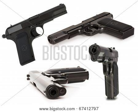 Set Of Soviet Handgun Tt (tula, Tokarev) Isolated On The White Background