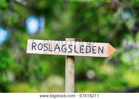Sign For Roslagsleden Trecking Path