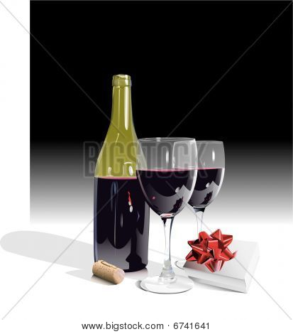 Wine bottle, two glasses, with gift-eps