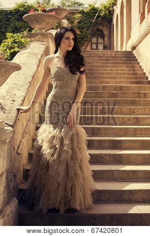 Beautiful Woman With Black Hair In Luxurious Dress Posing On Stairs