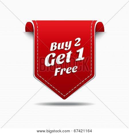 Buy 2 Get 1 Red Label Icon Vector Design