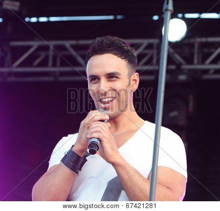 Israeli singer Judah Garva on stage