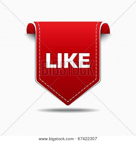 LIke Us Red Label Icon Vector Design