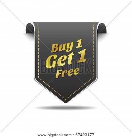 Buy 1 Get 1 Gold Black Label Icon Vector Design