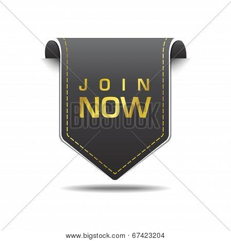 Join Now Gold Black Label Icon Vector Design