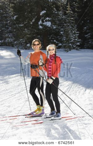 Cross Country Snow Skiiers Smiling