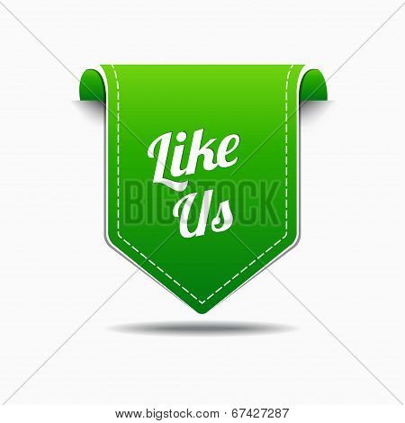 Like Us Green Label Icon Vector Design