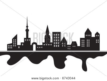 silhouette of city