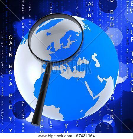 Globe Matrix Represents Earth Binary And Globalise