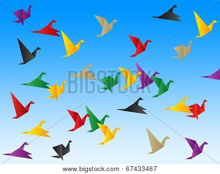 Freedom Sky Indicates Flock Of Birds And Escaped