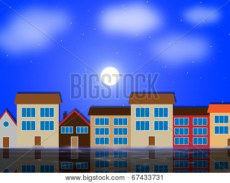 Moon Houses Shows Night Time And Apartment