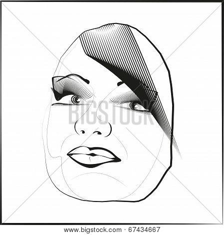 Sketch Outline Vector Eyes Lips Face Hair Look Obliquely.