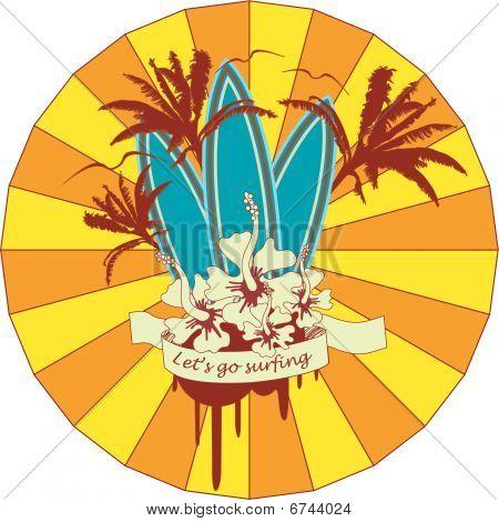 Surf Emblem With Banner