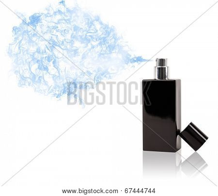 Perfume bottle spraying colorful scent