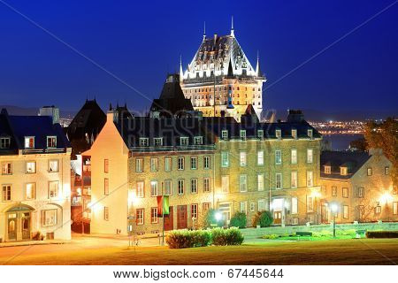 Quebec City old buildings with Chateau Frontenac at dusk