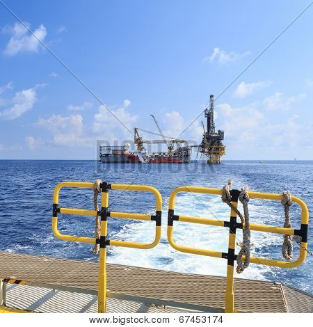 Tender Drilling Oil Rig (barge Oil Rig) On The Production Platform View From Crew Boat