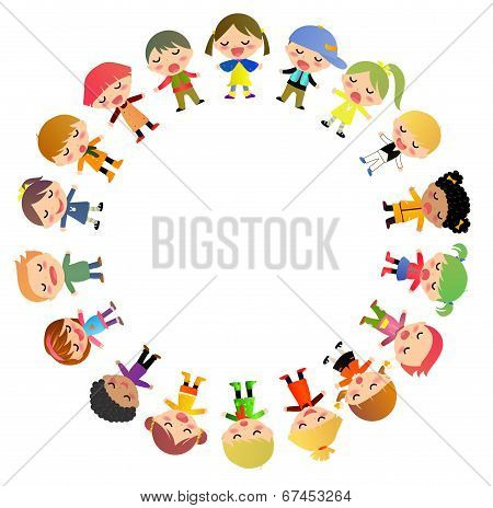 Vector illustration of group of cute kids standing around