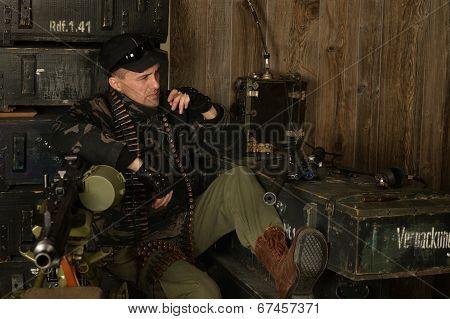 Armed combat soldier