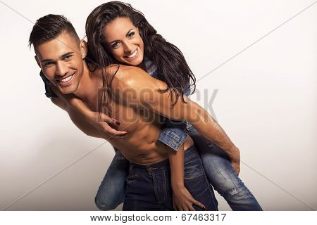 Sexy Beautiful Couple In Jeans
