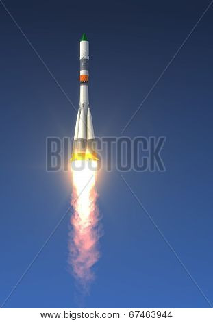 Cargo Rocket Launch In The Sky. Realistic 3D Scene. poster
