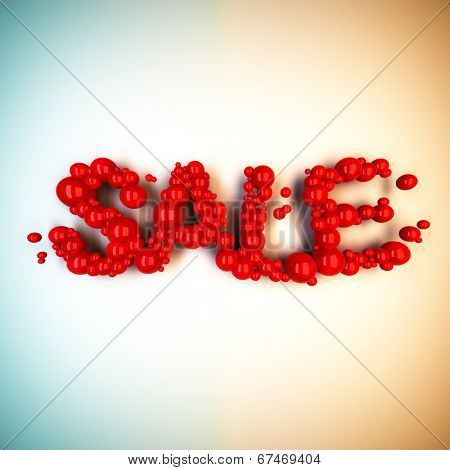 3d render illustration of Sale word from red balls.