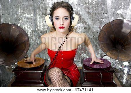 Beautful Disco Dj With Gramophones