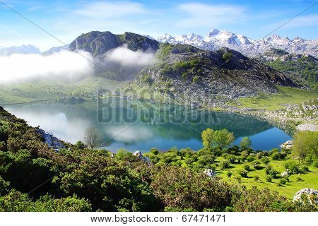 Picturesque nature landscape with lake.