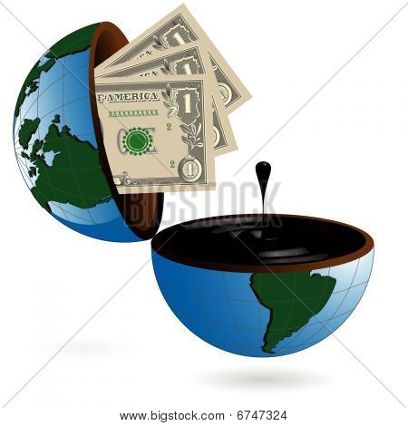 abstract drawing dollar and globe with oil poster