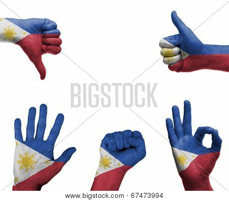 Hand Set With The Flag Of Philippines