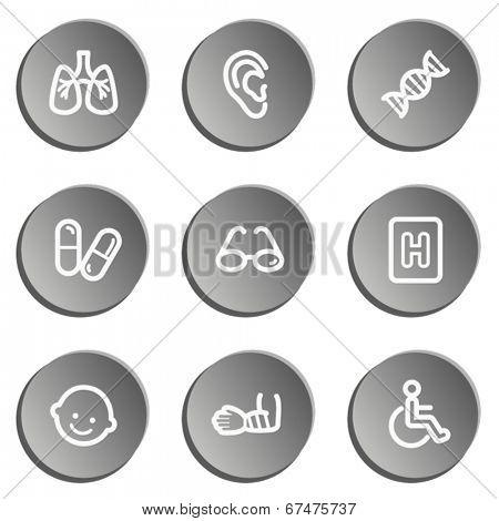 Medicine  web icon set 2, grey stickers set