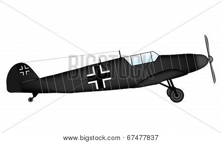 German WW2 fighter Bf 109G on white background - vector illustration. poster