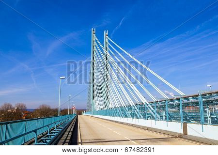 Bridge Of An Industry Park In Beautiful Landscape Near Frankfurt