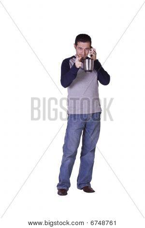 Mediterranean Man Smoking And Drinking Coffee