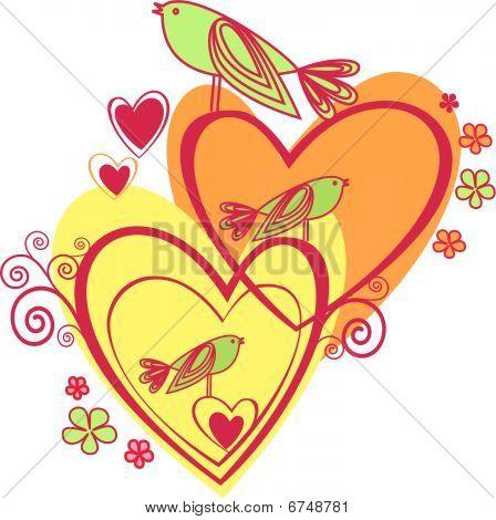 Love: hearts and birds
