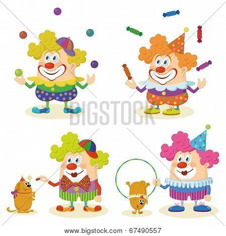 Cartoon circus clowns set