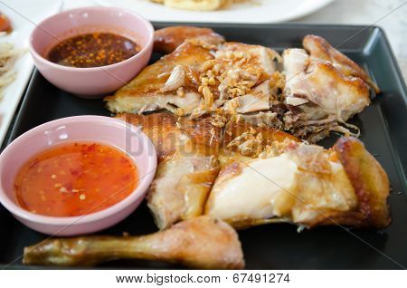 Grilled Chicken And Spicy Sauce.