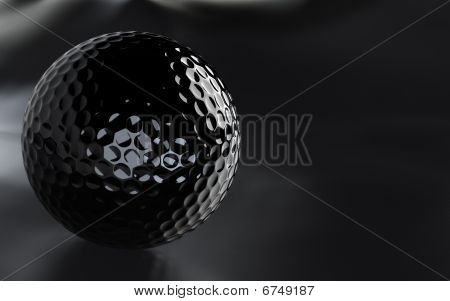 Black, Glossy Golf Ball With Alpha Channel.