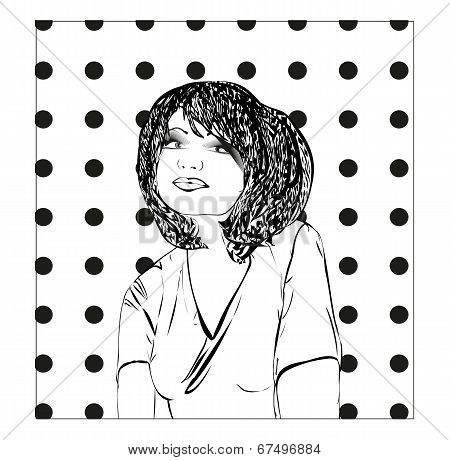 Monochrome Vector Illustration Of A Young Woman, Girl Sketch.