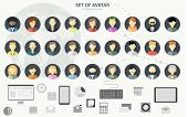 People icons. People Flat icons collection. Set of avatar flat design icons poster