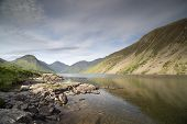 beautiful view of wastwater lake in the lake district cumbria england on sunny day poster