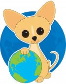 A cute Chihuahua  with his paw on the earth poster