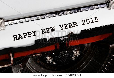 Typewriter Types Happy New Year 2015 Closeup
