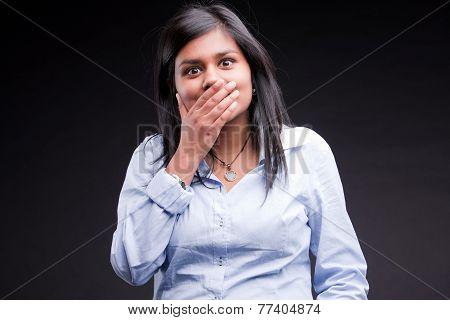 Indian Girl Realizing She Mistaken