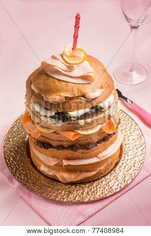 gastronomic panettone with shrimp smoked salmon and ham