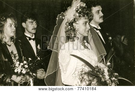 POLAND, CIRCA 70s: vintage photo of wedding ceremony